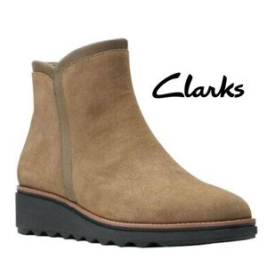 Clarks Sharon Heights Tan Faux Suede Ankle Boots
